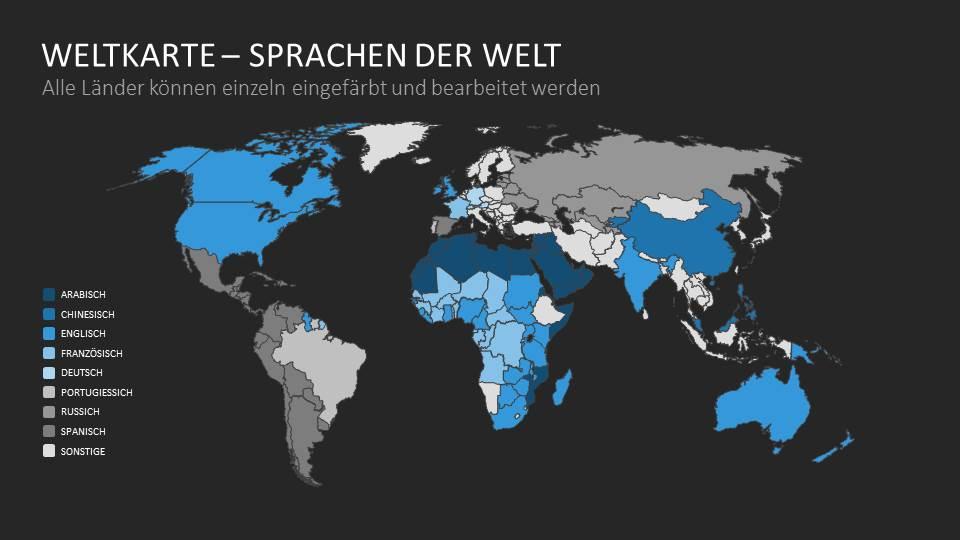 Bestimmte Abschnitte auf Welt- und Landkarten können beispielsweise zu anderen Folien, die weiterführende Infos enthalten, verlinken und werden so zu interaktiven Schaltflächen.