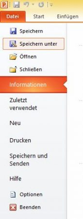 """Speichern Unter""-Option in PowerPoint"