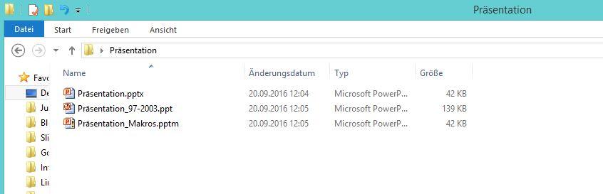 Dateiformate verschiedener PowerPoint-Versionen