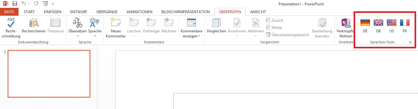 Sprachen umstellen in PowerPoint