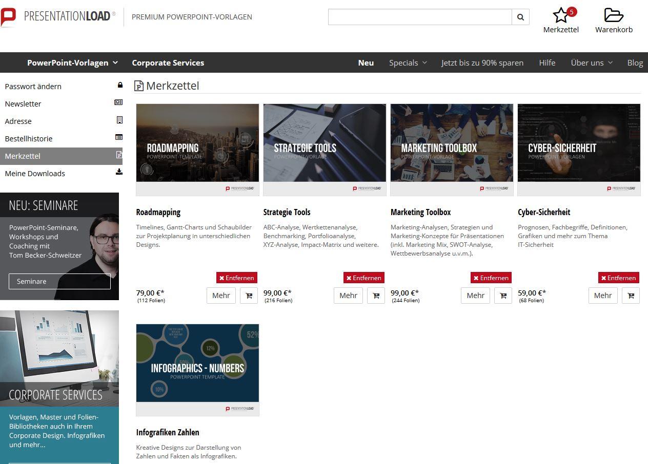 Neues Feature Merkzettel im Webshop PresentationLoad