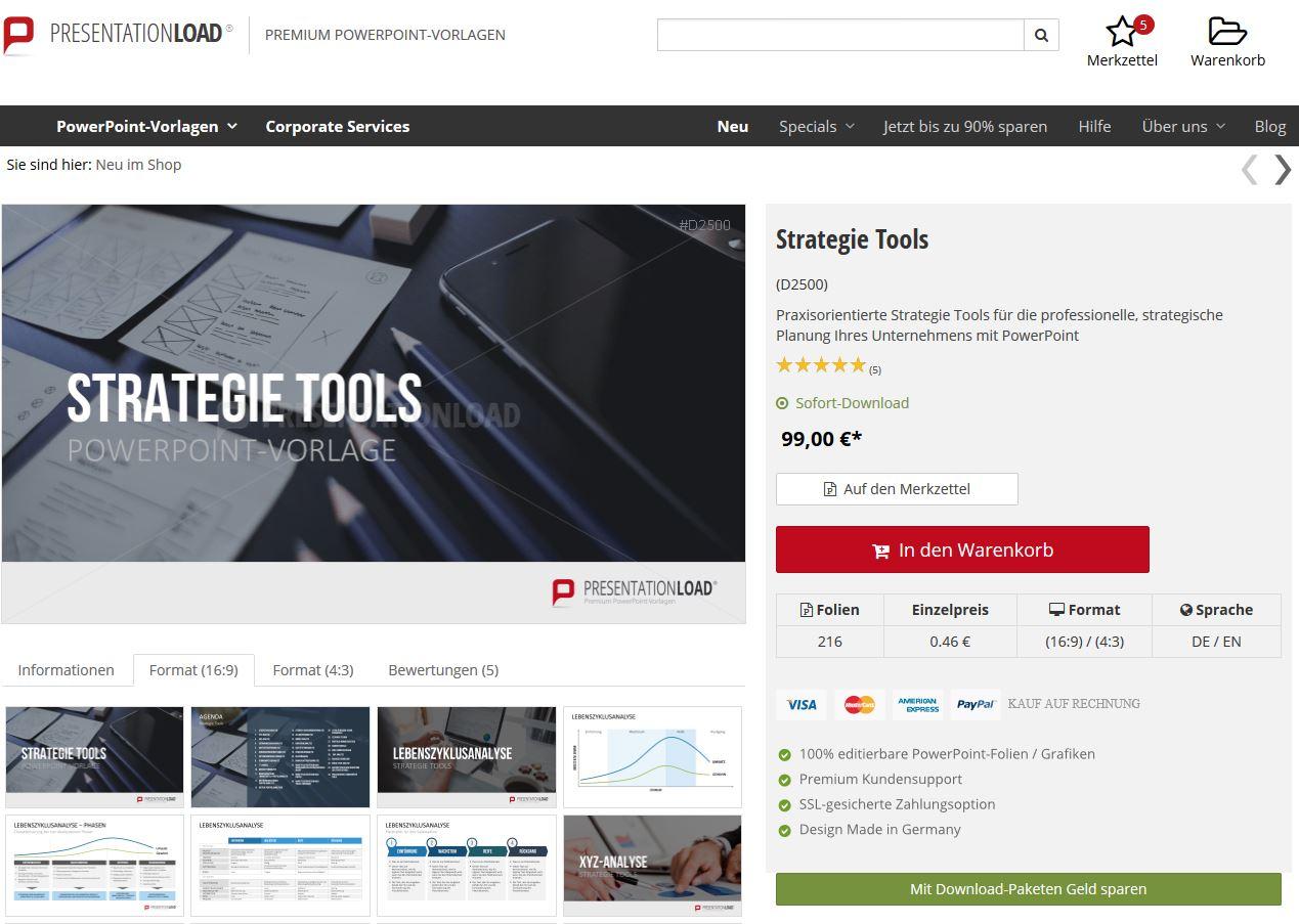Funktion Auf Merkzettel speichern im OnlineShop PresentationLoad
