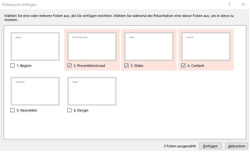 PowerPoint-Zoom Folienz