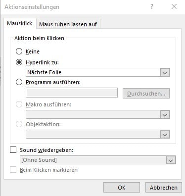 PDF in PowerPoint einfügen Info Mausklick