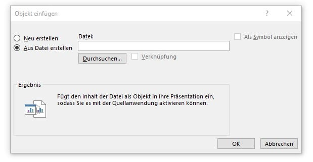 PDF in PowerPoint einfügen Info Objekt