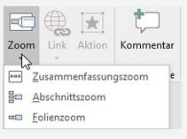 PowerPoint-Zoom Möglichkeitenauswahl
