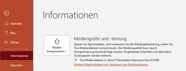 Mediengröße komprimieren in PowerPoint