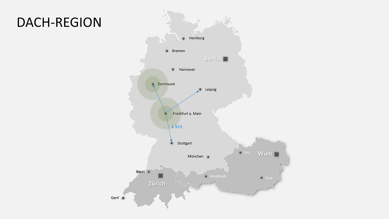 ppt Landkarte von Deutschland, Österreich und Schweiz einfügen